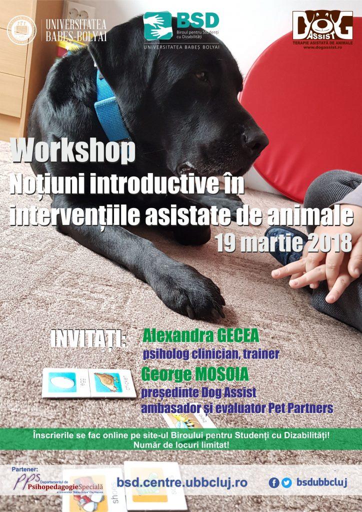 afis Workshop - Noțiuni introductive în intervențiile asistate de animale