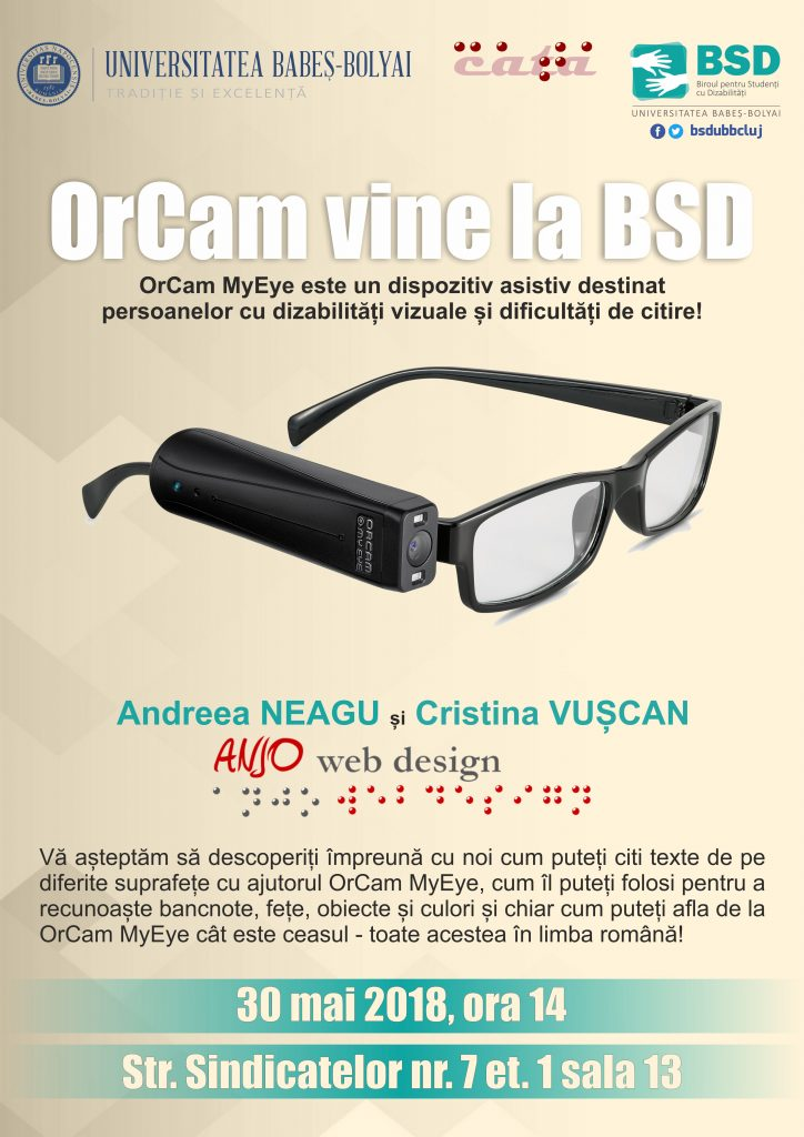 Afis OrCam MyEye - Andreea Neagu si Cristina Vuscan