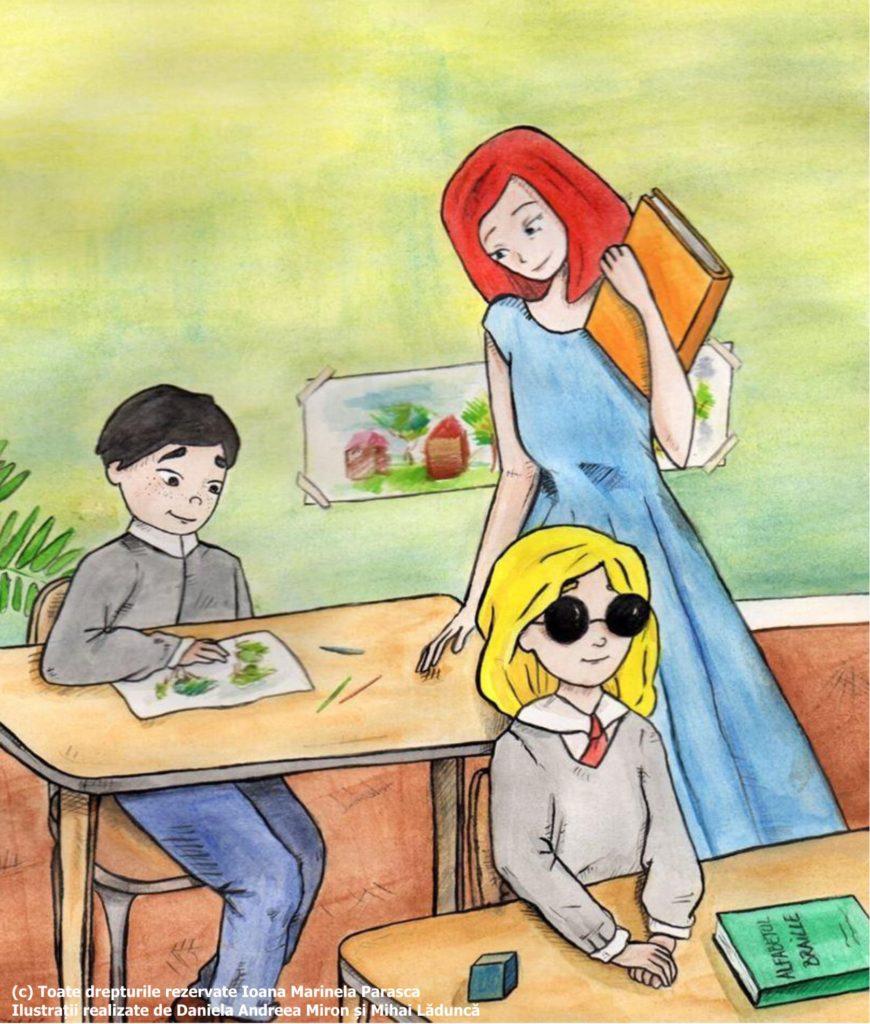 Ajunși în clasă, doamna învățătoare le cere fiecăruia să se prezinte. Pe fetița cu bastonașul o cheamă Irina. Pe banca fiecărui copil este câte un Abecedar. Irina stă în prima bancă și are pe masă Alfabetul Braille. În spatele ei, stă un băiețel pe nume Tudor. Irina le spune tuturor că este nevăzătoare și că se folosește de bastonaș pentru a se orienta și pentru a depista eventualele obstacole. Irina e bucuroasă că se află la școală.