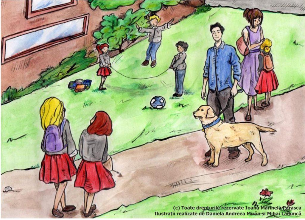 Copiii au terminat orele și ies în curte, pentru a pleca acasă. Spre ieșire o însoțesc toți, pentru că vor să fie în preajma Irinei. Irina e foarte bucuroasă. În curte, așteptându-și părinții, câțiva copii sar coarda. O altă fetiță deja și-a întâlnit mămica. În întimpinarea Irinei vine tatăl ei însoțit de un câine Labrador, lătrând fericit. Irina îl recunoaște și le spune tuturor că e Arci, câinele ei, care o însoțește peste tot.
