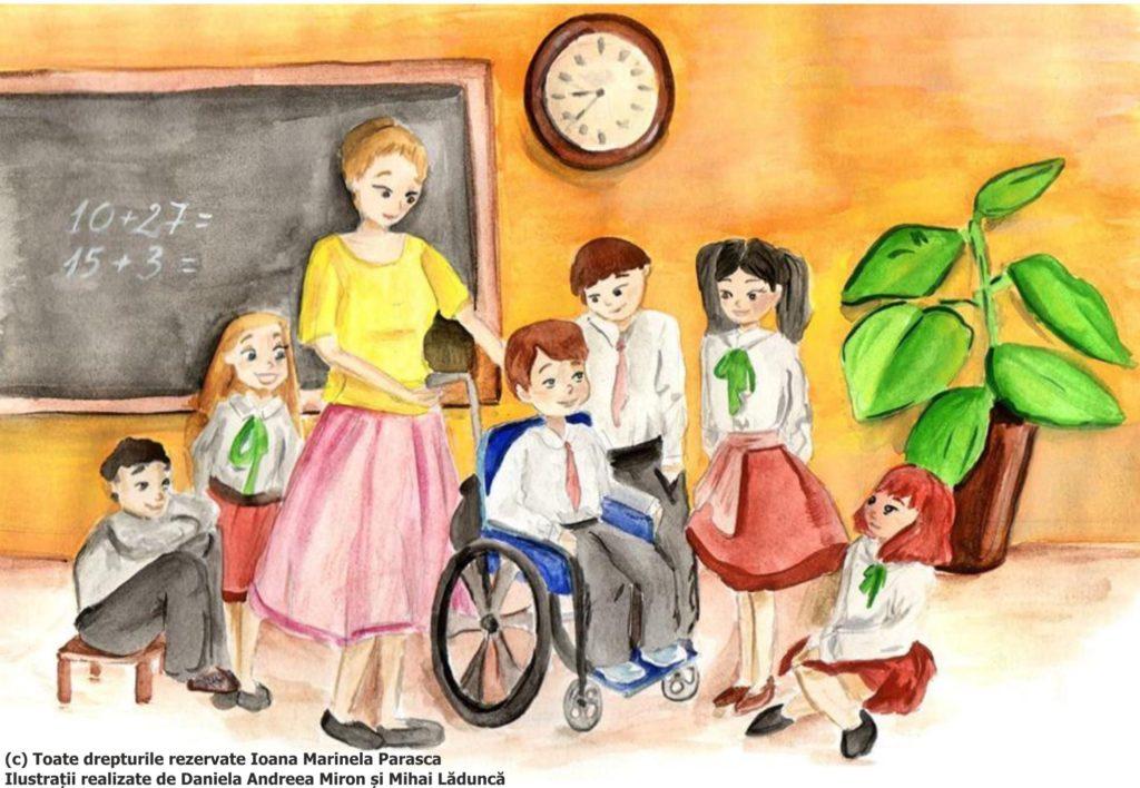 O nouă zi de școală.......într-o altă clasă, doamna învățătoare prezintă copiilor un nou coleg. Îl cheamă Daniel și este un copil în scaun cu rotile. Toți sunt strânși împrejurul lui. Doamna învățătoare le explică copiilor că Daniel are atrofie musculară și că nu se poate deplasa așa cum o fac toți, având nevoie de scaun cu rotile. Copiii se arată bucuroși să îl ajute și îl invită pe Daniel să stea cu ei în bancă. Doamna învățătoare le spune copiilor că Daniel are nevoie permanent de ajutor și de aceea în bancă cu el va sta un profesor de sprijin.