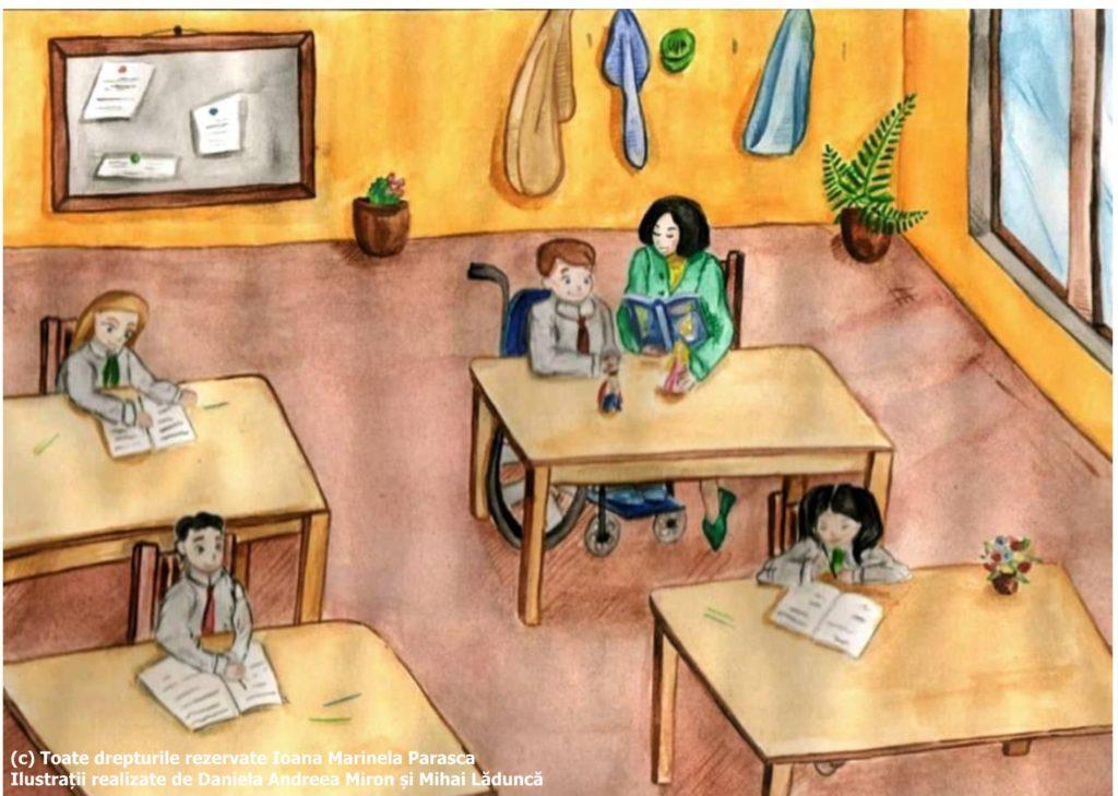 Daniel stă într-o bancă lângă geam. În bancă cu el se află profesoara de sprijin, care i-a adus o carte cu povești și niște jucării, personaje din poveștile mult îndrăgite de Daniel. În față și lângă Daniel, stau trei colegi, fiecare în banca lor, având pe masă câte o carte. În spatele clasei este un cuier în care copiii își pun hainele și o tăbliță unde doamna învățătoare afișează diferite anunțuri sau lucrări ale copiilor. Daniel este într-o clasă spațioasă, luminoasă, cu flori multe din loc în loc.
