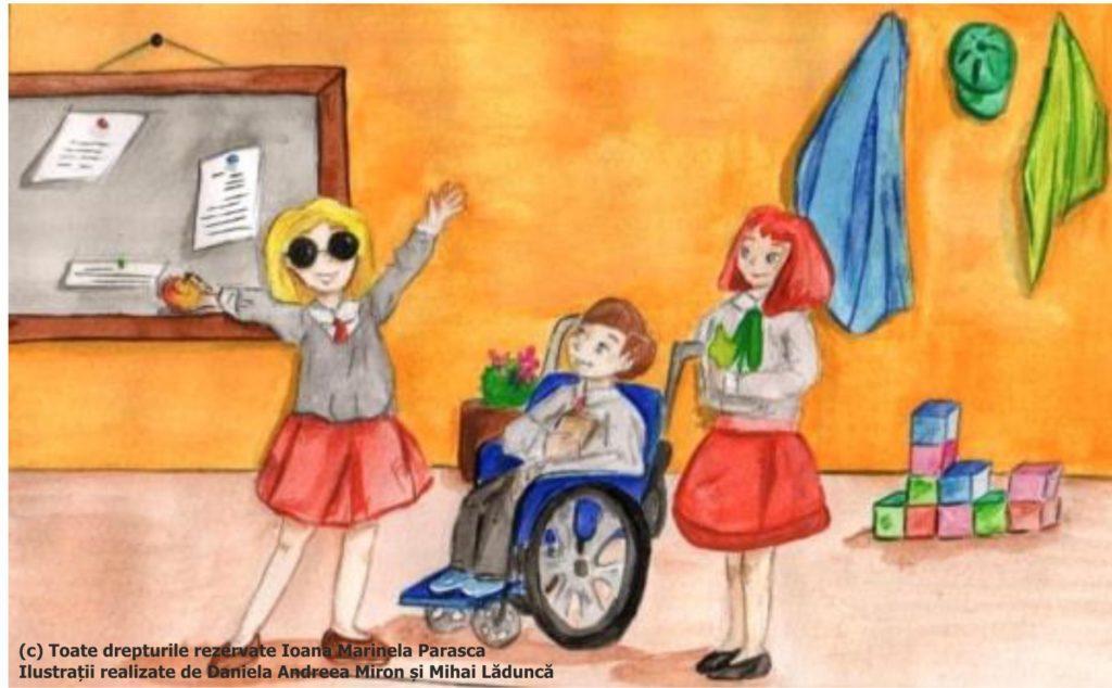 Andreea, o fetiță din clasa lui Daniel, se oferă să îi prezinte acestuia ceilalți colegi din clasă. Își cere permisiunea de a împinge ea căruciorul, în timp ce îi va prezenta lui Daniel colegii. În fața lor apare bucuroasă Irina, fetița nevăzătoare din clasa alăturată. Andreea îi explică lui Daniel că Irina este o fetiță nevăzătoare din clasa alăturată și vine adesea la ei în clasă, împreună cu colegii acesteia. Irina, Andreea și Daniel au devenit acum prieteni buni.