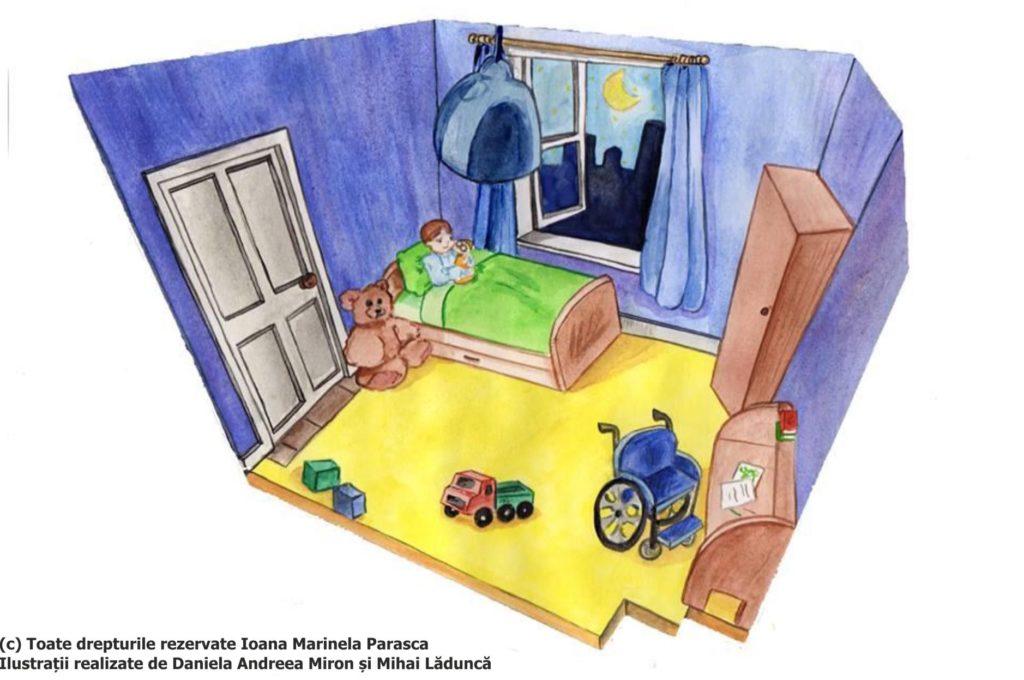 Seara, în camera lui, după o zi frumoasă la școală, Daniel rememora ziua petrecută împreună cu colegii lui. Geamul deschis și Luna îi aduceau un aer plăcut și o lumină strălucitoare. Ursulețul de pluș de lângă patul lui îi veghea somnul. Dulapul din fața patului, biroul și scaunul cu rotile, dar și mașinuța lăsată pe covor, parcă intraseră și ele într-un somn profund ca al lui Daniel.