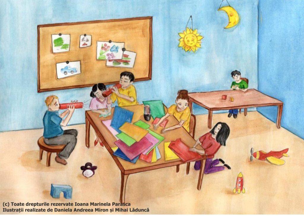 O nouă zi de școală, în care fiecare copil se joacă cu ce dorește: unii și-au ales hârtia colorată, alții au ales să scrie, băieții mai jucăuși și-au făcut tuburi din hârtie colorată prin care să sufle. Într-un colț al clasei stă Răzvan, un băiețel autist. El preferă să stea izolat de colegii lui, deși îi place să vină la școală. Se joacă cu cuburile. Pe jos sunt aruncate niște jucării, iar pe panoul din spatele clasei sunt afișate desenele copiilor.