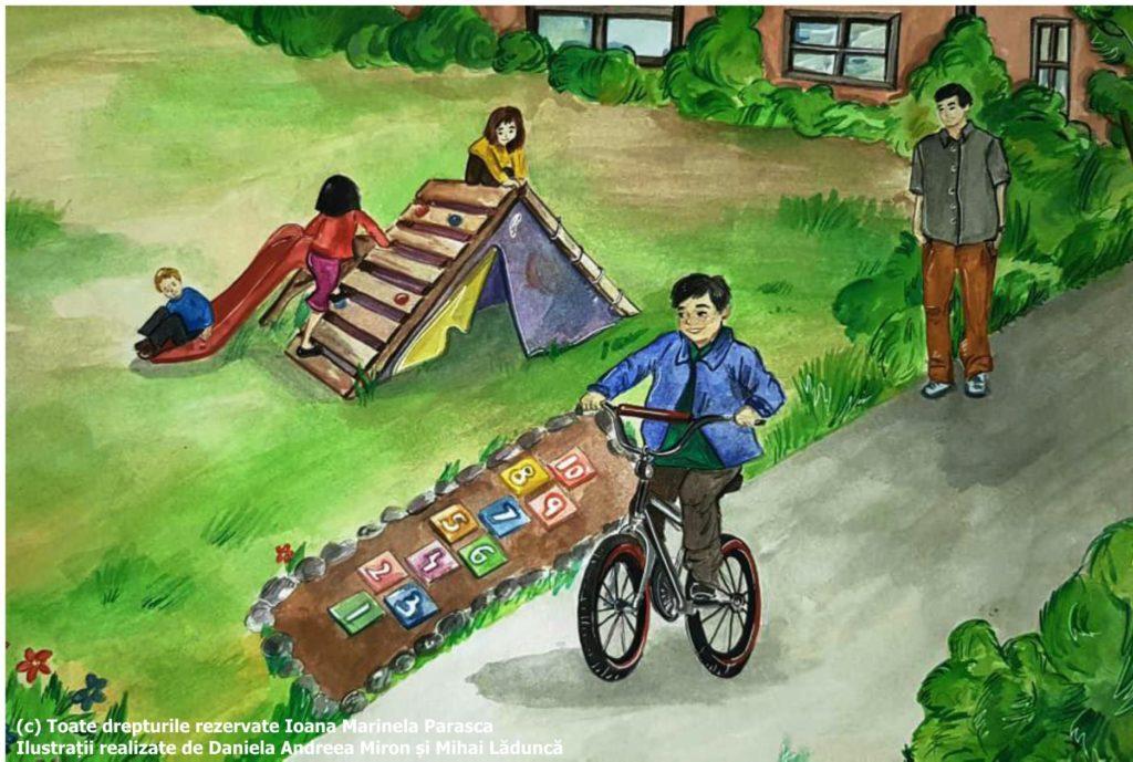 Suntem la ora de educație fizică. Un băiețel se dă pe tobogan, două fetițe escaladează un traseu cu obstacole. Răzvan a ales să se dea pe bicicletă. Domnul profesor îi supraveghează. Răzvan nu știe încă să se dea bine, dar el tot încearcă. Într-un final reușește! Răzvan râde de bucurie.