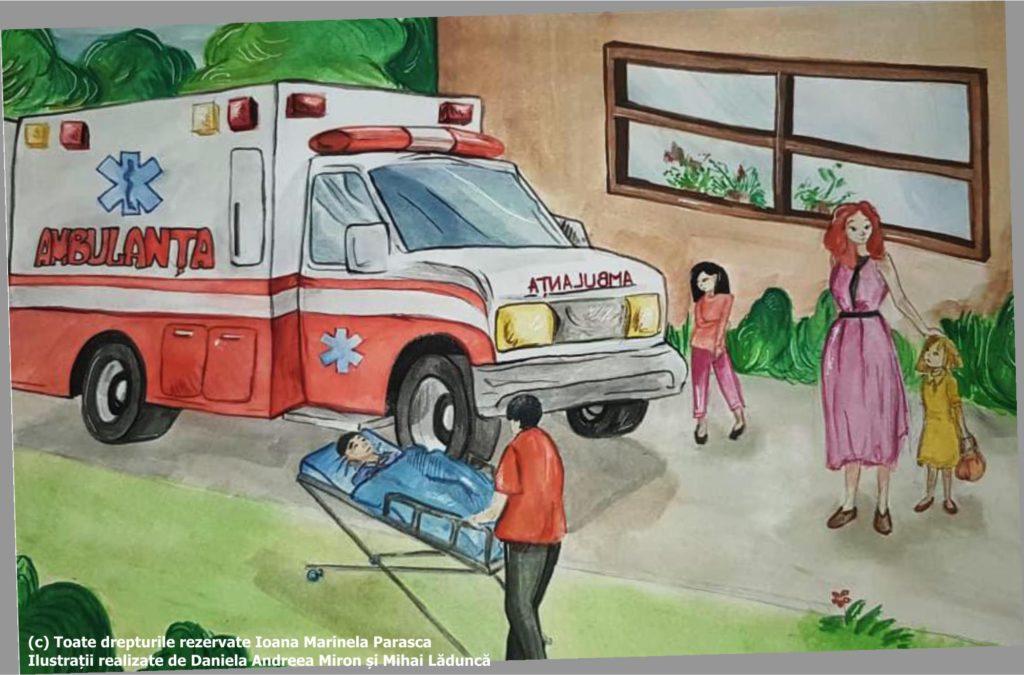 În fața școlii a venit ambulanță. A chemat-o doamna învățătoare. Asistentul de pe ambulanță l-a urcat pe Răzvan pe targă pentru a-l pune în mașină. Doamna învățătoare împreună cu două fetițe urmăresc cu îngrijorare acțiunea.