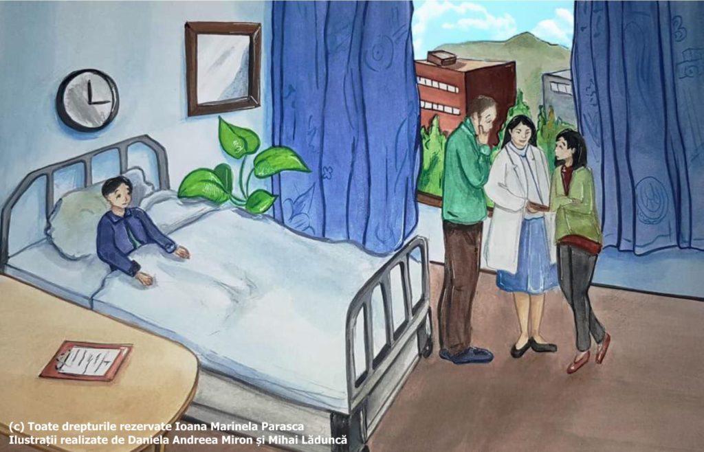Răzvan este internat la spital. Stă liniștit în pat. În salon, părinții lui discută cu doamna doctor. Pe masa de lângă patul lui Răzvan se află fișa de observație a lui. Prin geamul salonului se văd clădirile impunătoare de lângă spital.