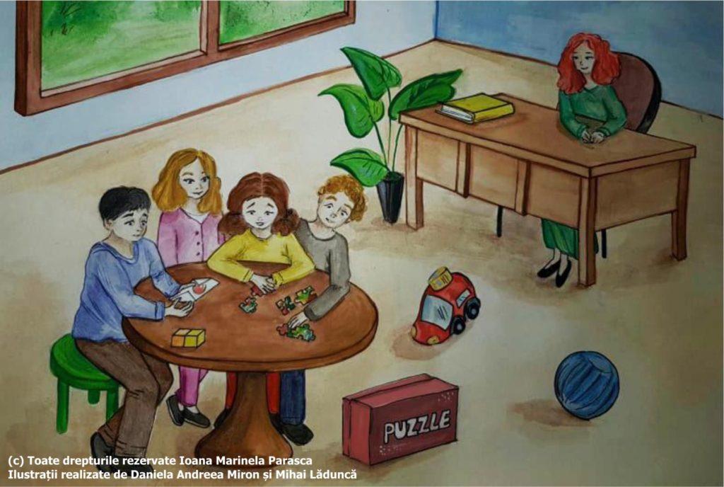 A doua zi Răzvan s-a întors la școală. Copiii l-au chemat bucuroși să rezolve împreună un puzzle. Au lăsat mașinuța și mingea pe jos și s-au așezat la o masă rotundă pentru a rezolva puzzle-ul. Doamna învățătoare îi supraveghează de la catedră.