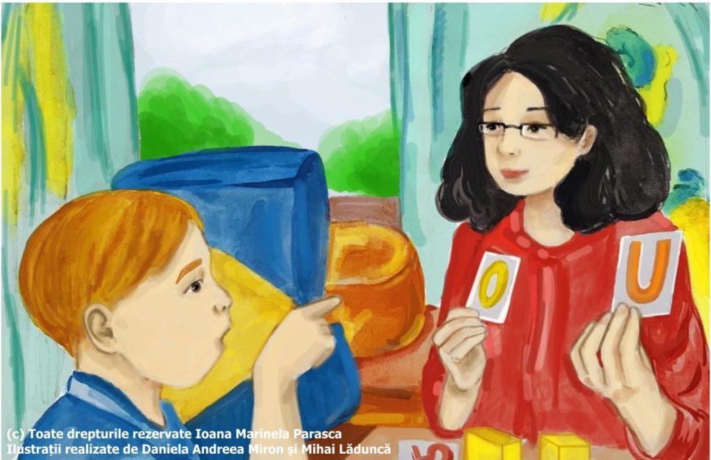 Vlad face și terapie logopedică. Terapeutul îl învață literele. Îi prezintă câte un cartonaș cu litera și Vlad pronunță, arătând cu degetul cartonașul potrivit.