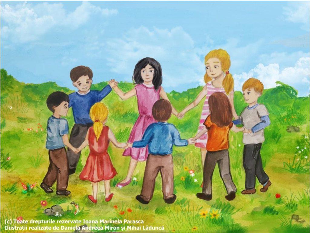 După multă muncă, Vlad are acum timp liber. El se prinde într-o horă, împreună cu colegii lui. Sunt pe iarbă afară, cu mâinile ridicate, prinse unele de altele. Toți sunt bucuroși!